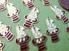 Vintage 10 x 18mm Thin Lightweight Metal Rabbit in Hat Charms 16