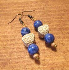 Beaded Sodalite Earrings, Dangle, Gemstone, Handcrafted, Boho, Tribal, item #32