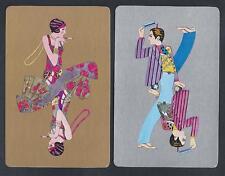 #930.836 vintage swap card -EXC pair- Art Deco Lady & Gentleman, gold & silver