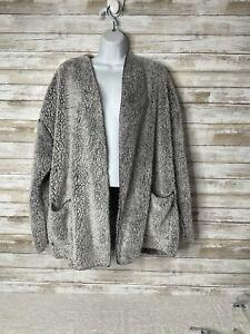 Secret Treasures Size 2x (18w -20x)GRAY Soft FUZZY Open Front Jacket Loungewear