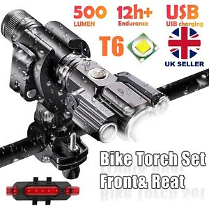 Mountain Bike Lights Rechargeable 18650 Bicycle T6 LED Torch Front Rear Lamp