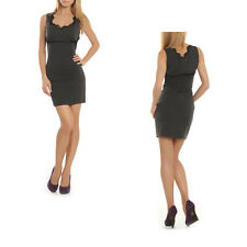 Womens Gray Black Lace Trim Sleeveless Stretch Mini Dress size Medium Brand NEW