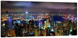 Hong Kong at Night Panorama Canvas Wall Art Picture