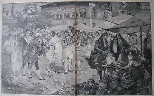 "JUAN PABLO SALINAS SPANISH ENGRAVING ""FLOWER & FRUIT MARKET CASTILLE SPAIN 1899"