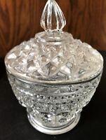 VINTAGE DIAMOND DESIGN PRESSED GLASS CANDY DISH OR TRINKET HOLDER
