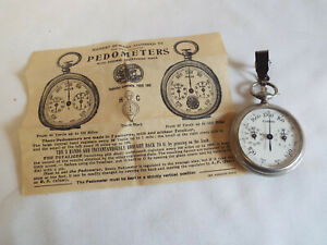 Antique boxed French Pedometer in yards miles,with leaflet.c1900
