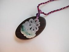 100% Natural Type A Jadeite Jade Ruyi Flower pendant C00250