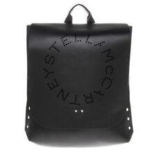 0bdbeb2b99e8b Stella McCartney Women Stella Round Perforated Logo Faux Leather Backpack  Black
