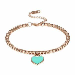 Women Beads Bracelet Enamel Heart Bracelets Pendant Charm Bangles Lady Jewelry