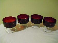 Set of 4 Ruby Red LUMINARC Sherbet / Dessert / Ice Cream Goblets Crital D'Arque