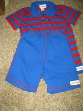 Grey Sun by Ruffle Girls boutique boys short set blue red stripe polo 5 6
