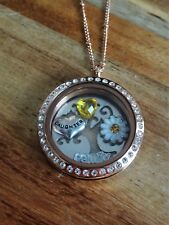Rose Gold Round Crystal Locket Necklace for Daughter