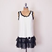$330+ Betsey Johnson B&W 100% Silk Chiffon Tier Ruffle Drop Waist Mini Dress 4 S
