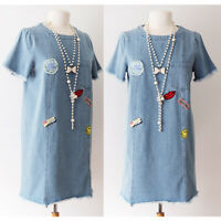NEW Denim Blue 100% Cotton Cute Patches Pocket Frayed Hem Vtg Retro Shift Dress