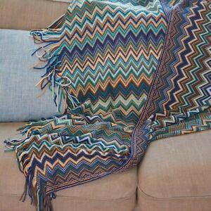 Boho Bohemian Blanket Ethnic Knitted Sofa Throw Couch Towel Tassel Fringe