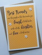 Handmade Personalised Birthday or Thank You Card: Best Friends Sentimental Quote