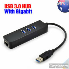 USB 3.0 HUB 3 Port with RJ45 Gigabit Ethernet Adapter 1000Mbps to PC MAC Laptop