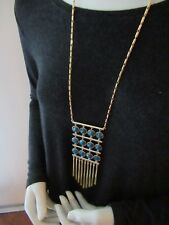 Necklace/ Teal Stones Metal Fringe Bottom Nwt Carolee Gold Tone Long Tube Chain