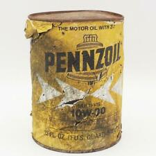 Mancave Garage Distressed Pennzoil Cardboard Oil Can Advertising Empty Vintage