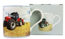 Red Tractor Design Fine China Mug East West Design Sunset Field Hay Farming NEW