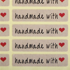 200pcs=10Sheet Paper Stickers Label Handmade with love Rectangle Seals Craft JT