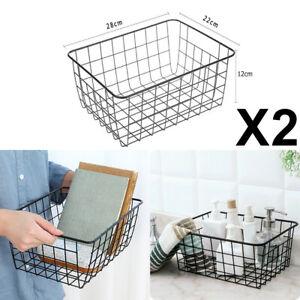2Pcs Black Storage Basket Metal Wire Mesh Basketry Bathroom Kitchen Tray Desk