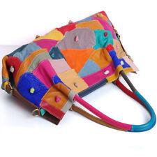 100% Genuine Leather Colorful Blocks Patchwork Handbag Women's Tote Shoulder Bag