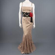 DOLCE & GABBANA Size 8 Beige Silk Lace Red Flower Sash Belt Gown
