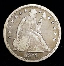 1871-P Seated Liberty Silver Dollar $1 in Fine+ Condition