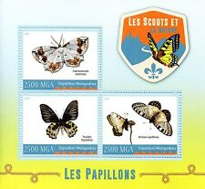 Madagascar 2016 MNH Scouts & Nature Butterflies 3v M/S Scouting Insects Stamps