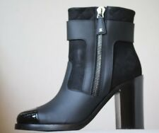 CHANEL BLACK LEATHER QUILTED HEEL ANKLE BOOTS EU 38 UK 5 US 8