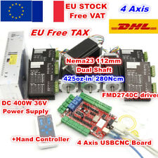 【FR+EU】4 Axis Nema23 112mm Dual Shaft Stepper Motor 425oz-in USBCNC Kit+Drive