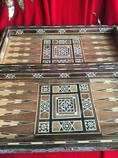 Mint Moroccan Handmade Wood Backgammon Chess Board Inlaid Mother Of Pearl