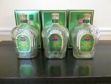 Lot of 3 Empty 1 Liter Crown Royal Regal Apple Whiskey Bottles With Caps & Boxes