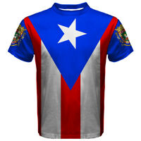 New Puerto Rico Flag coat of arms Rican Sublimated Men's Sport Mesh Tee t-shirt