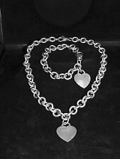 TIFFANY & CO SET: BRACELET and HEART-SHAPED PENDANT with CHAIN