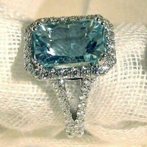 5CT Emerald Cut Aquamarine Diamond Solitaire Engagement Ring 14K White Gold Over