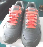 adidas neo - womens grey/coral pink trainers - size 4