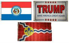 3x5 Trump White #2 & State Missouri & City St Louis Wholesale Set Flag 3'x5'