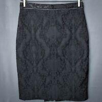 Tahari Womens Pencil Skirt Size 10 Black Textured Knee Length Straight Career