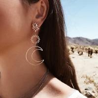 Luxury Sun Moon Drop Earrings Rhinestone dangle Long Earrings Women Jewelry