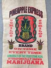 Pineapple Express Pot Leaf Marijuana Burlap Bag pot leaf hippie sack