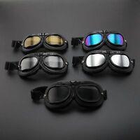 Black Retro Vintage Motorbike Scooter Glasses Helmet Goggle Pilot Flying Eyewear
