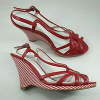 Next size 5 (38) red faux leather buckle slingback strappy wedge heel sandals