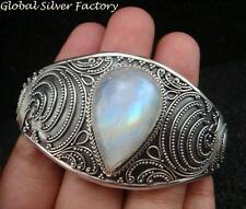 Chunky Sterling Silver Rainbow Moonstone Cuff Bangle SBB-411-KT