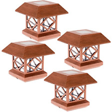 GreenLighting Summit Solar Post Cap Light for 4x4 Wood Posts 4 Pack Brushed