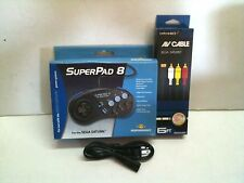 COMBO SUPER 8 CONTROLLER PAD + A/C CORD + A/V CABLE FOR SEGA SATURN SYSTEMS