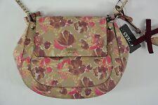 Women's Guess Marian Tan Floral Crossbody Lined Saddle Handbag Purse NEW NWT
