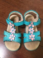 Pediped Flex Girls Sandals Shoes Sidra Leather Turquoise Flowers Size 24/US 7.5
