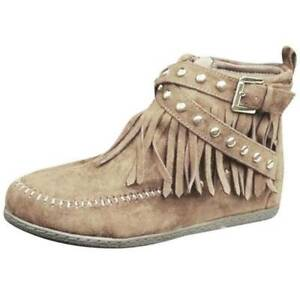 Womens Flat Heel Tassel Side Zip Up Shoes Casual Boots Lady Ankle Boots Oversize